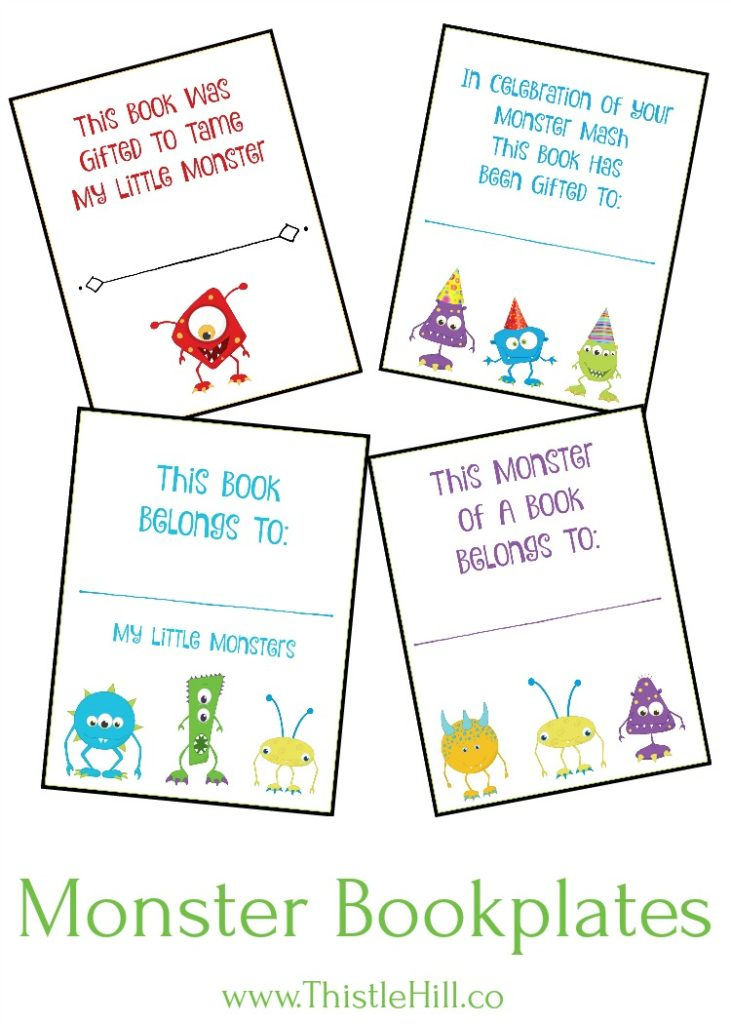 Printable Monster Bookplates - Thistle Hill