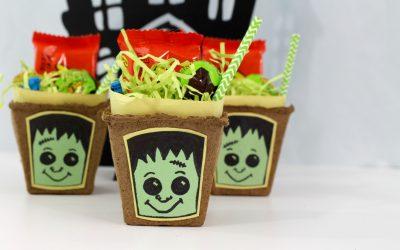 DIY Frankenstein Halloween Treat Baskets