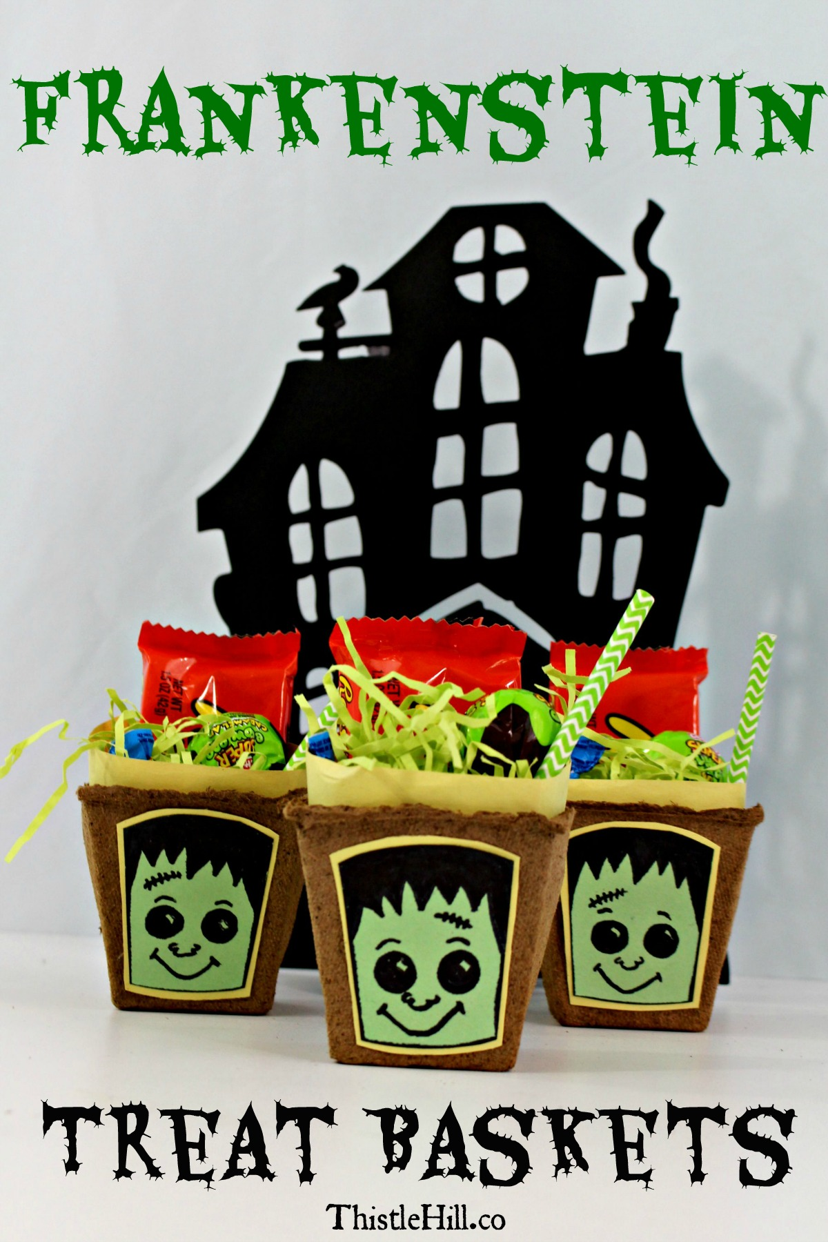 DIY Frankenstein Halloween Treat Baskets - Thistle Hill